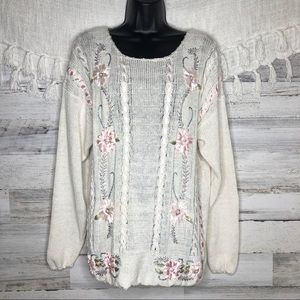Vintage embroidered chunky knitted retro sweater